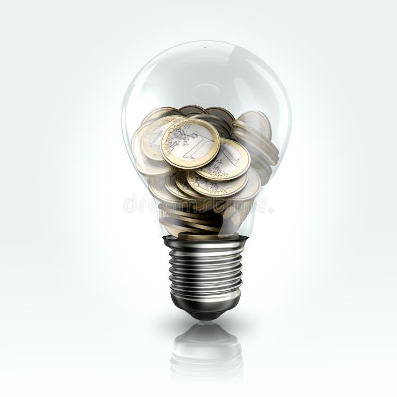 与里面欧洲硬币的一个电灯泡 库存图片