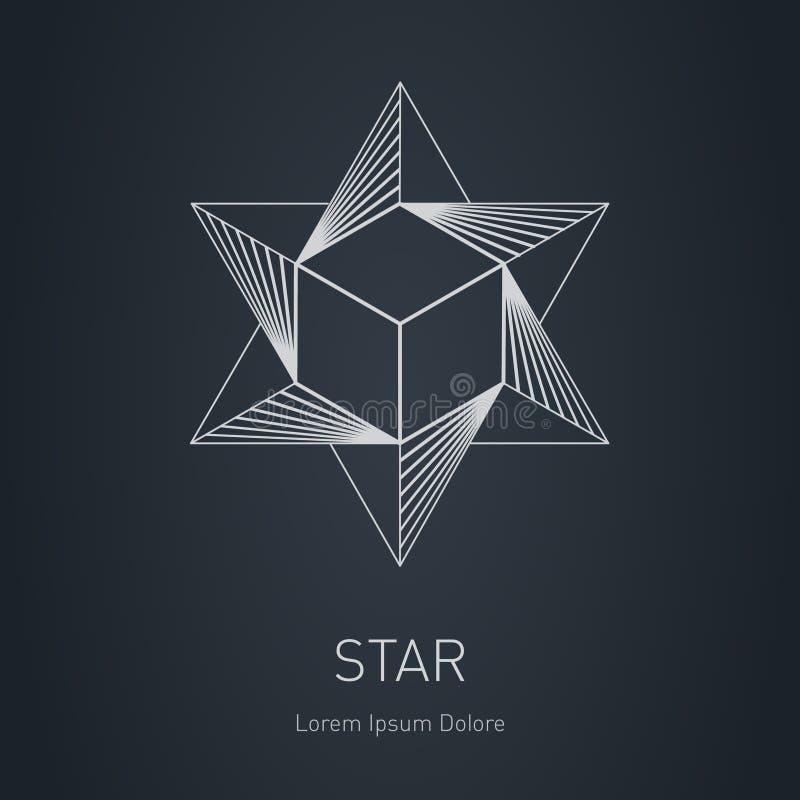 与里面立方体的多角形星 现代时髦的商标 设计ele 向量例证