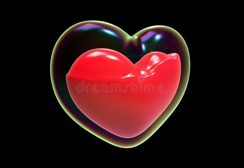 与里面血液的泡影心脏 免版税库存图片