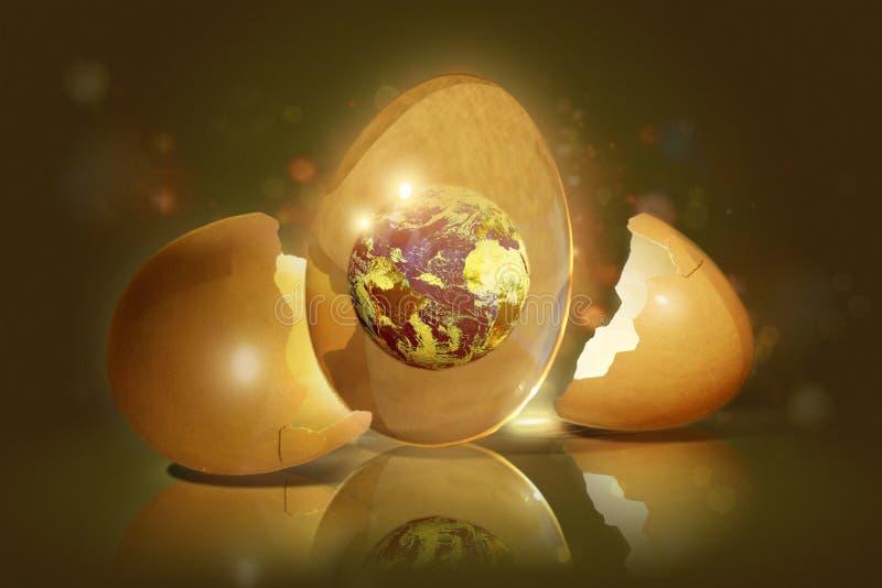 与里面行星的残破的鸡蛋 皇族释放例证