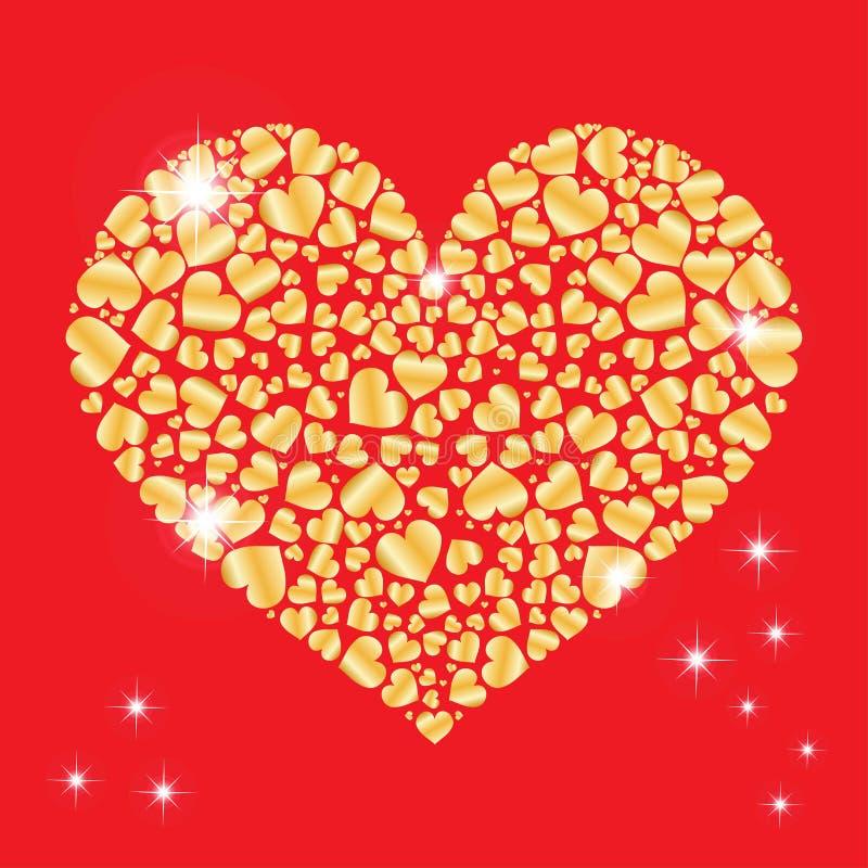 与里面许多小心脏的闪耀的心脏 设计的要素 日例证华伦泰向量 概念亲吻妇女的爱人 逗人喜爱的机会 皇族释放例证