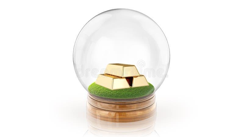 与里面金黄酒吧的透明球形球 3d翻译 库存照片