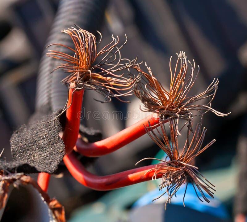 与里面铜纤维的红色电缆 免版税库存图片