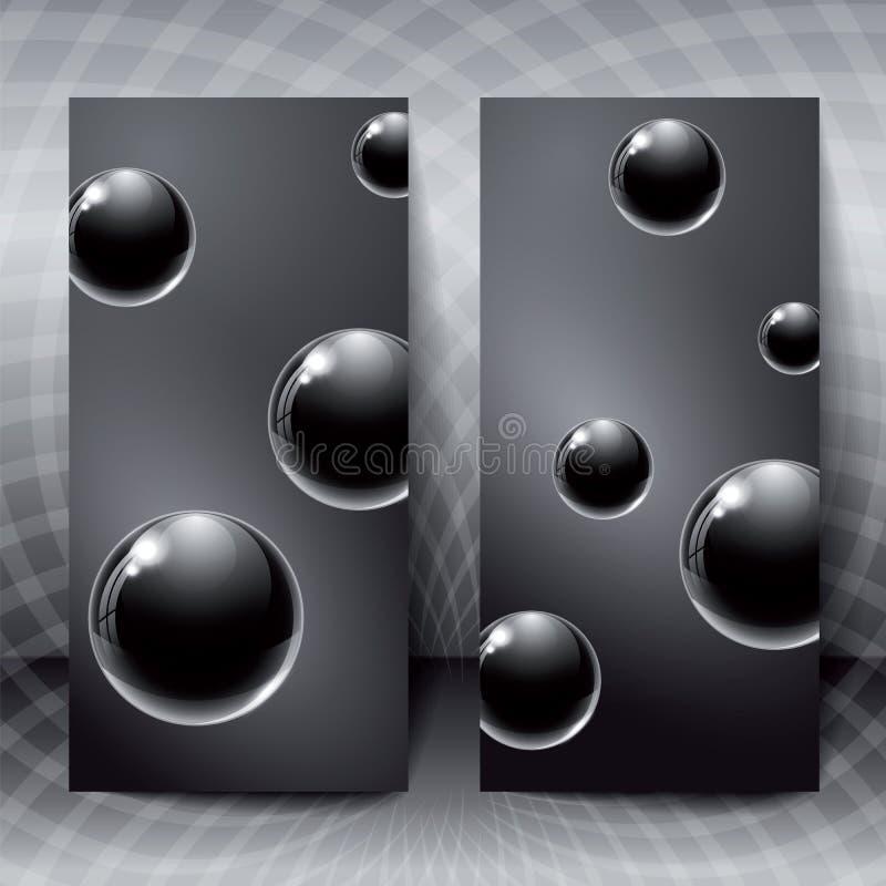 与里面黑玻璃球的抽象图 向量例证