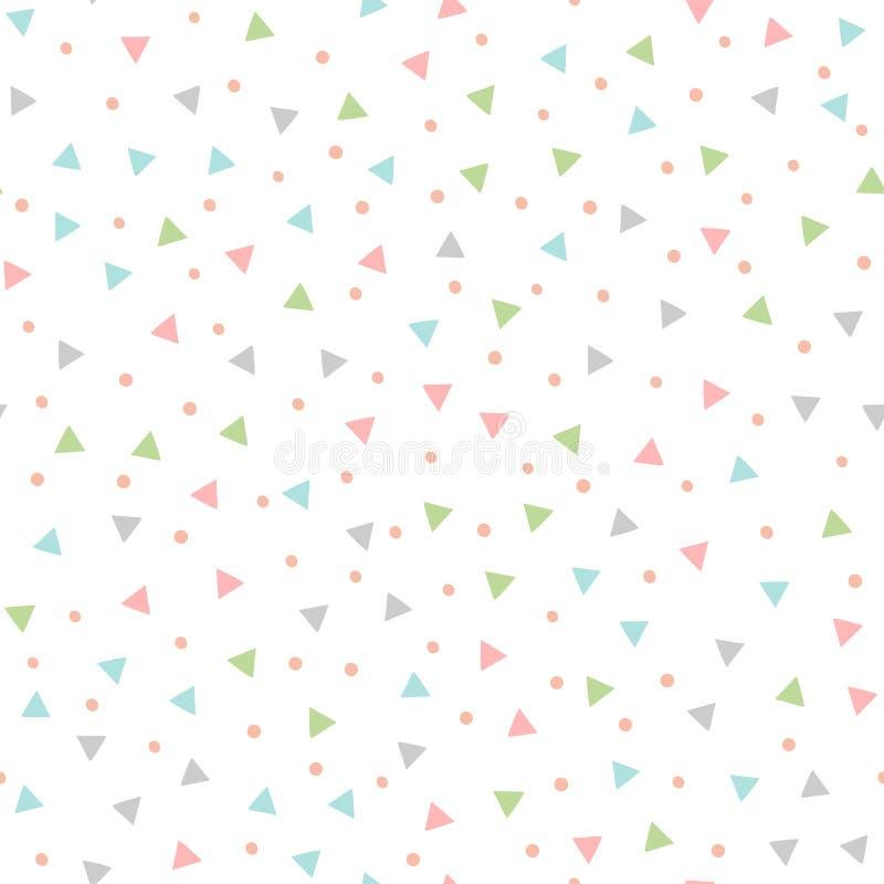 与重复三角和圆的斑点的色的无缝的样式 用手画 库存例证