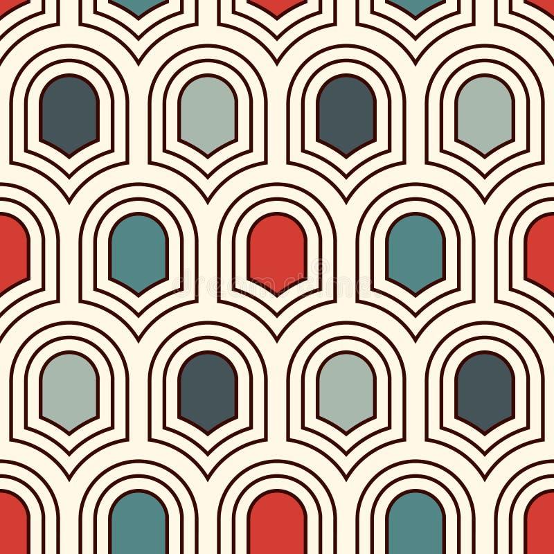与重复的古老盾的无缝的表面样式 几何图背景 与标度主题的简单的装饰品 向量例证