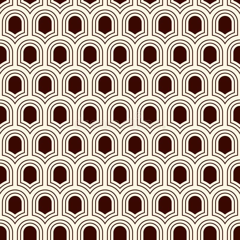 与重复的古老盾的无缝的表面样式 几何图背景 与标度主题的简单的装饰品 皇族释放例证
