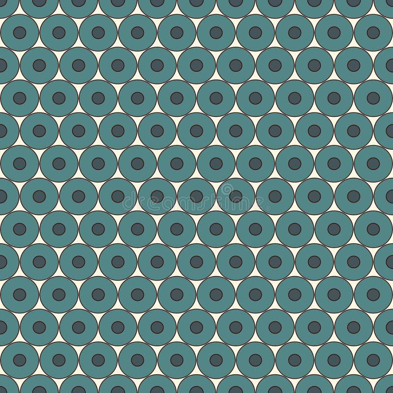 与重复的圈子的淡色蓝色无缝的样式 泡影主题 几何抽象的背景 现代表面纹理 皇族释放例证