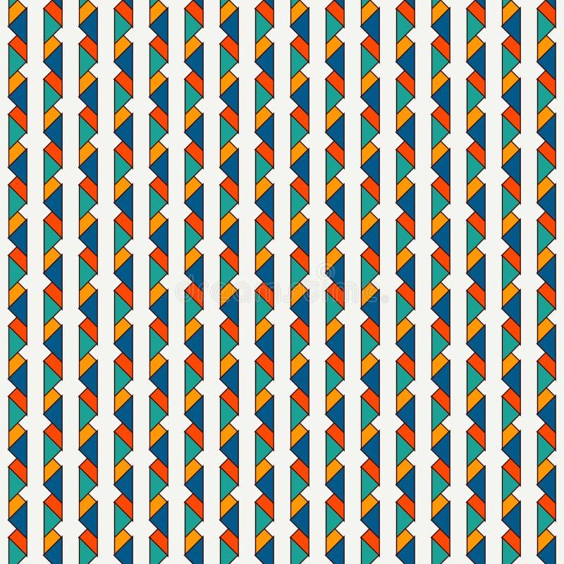 与重复的微型三角的无缝的样式 与origami形式的当代几何印刷品 垂直的尖线 库存例证