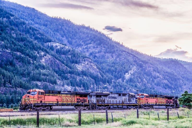 与重火车引擎机车通过的蒙大拿风景 库存照片