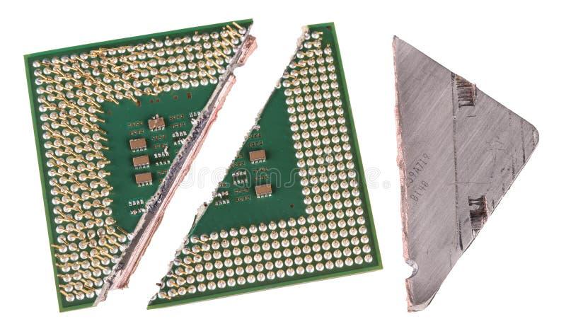 与重要建筑学臭虫的残破的计算机处理器 库存图片
