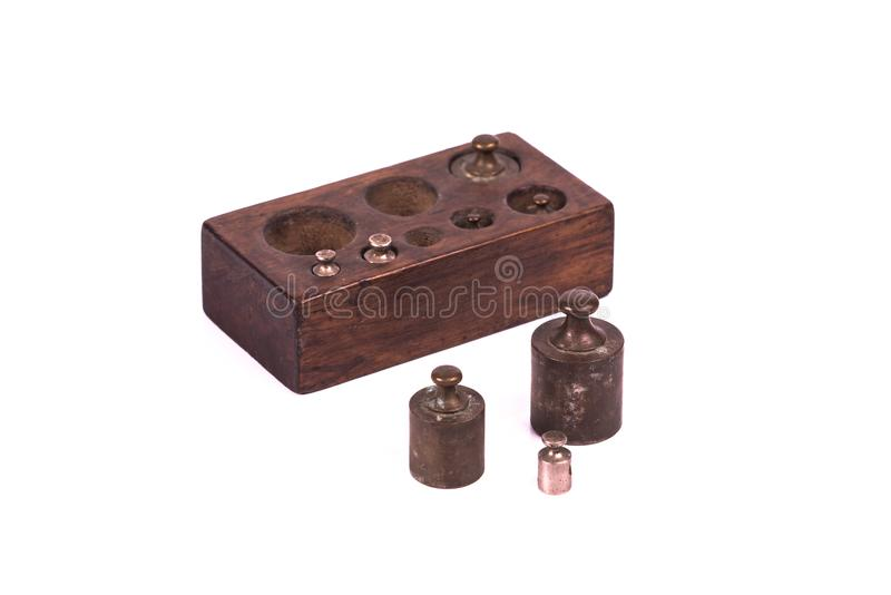 与重量的古色古香的葡萄酒药房标度 免版税图库摄影