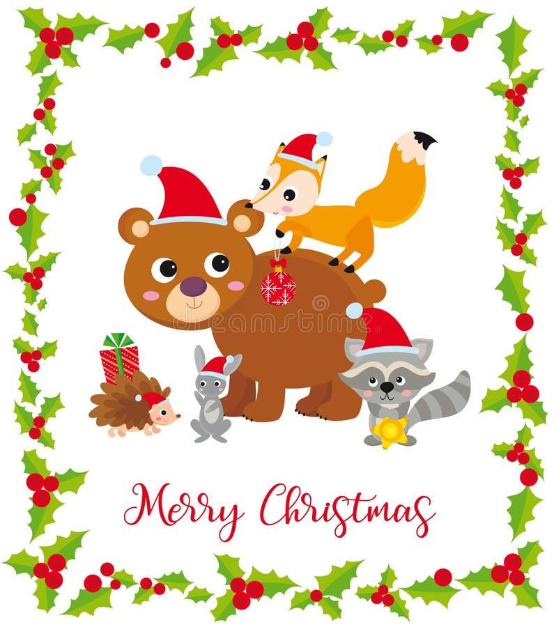 与野生动物和框架的逗人喜爱的圣诞卡片 库存例证