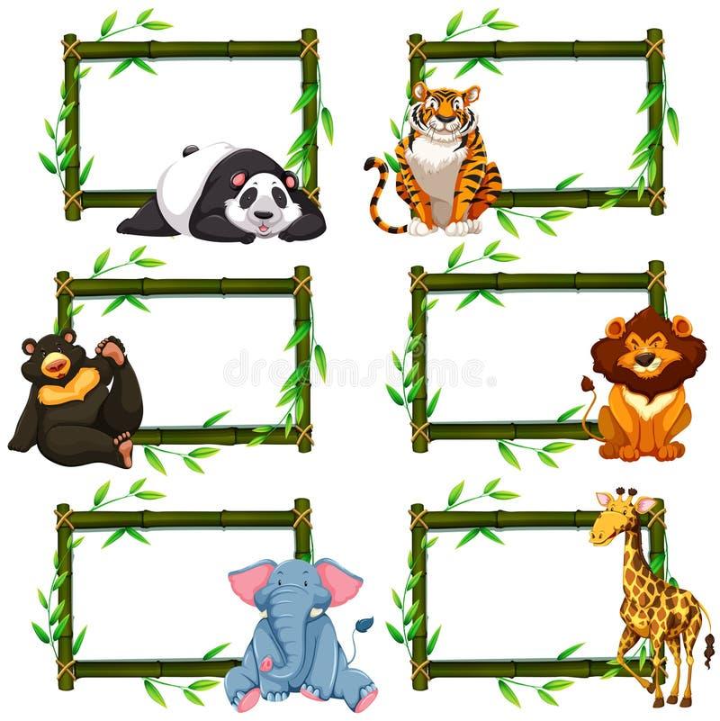 与野生动物的六个竹框架 向量例证