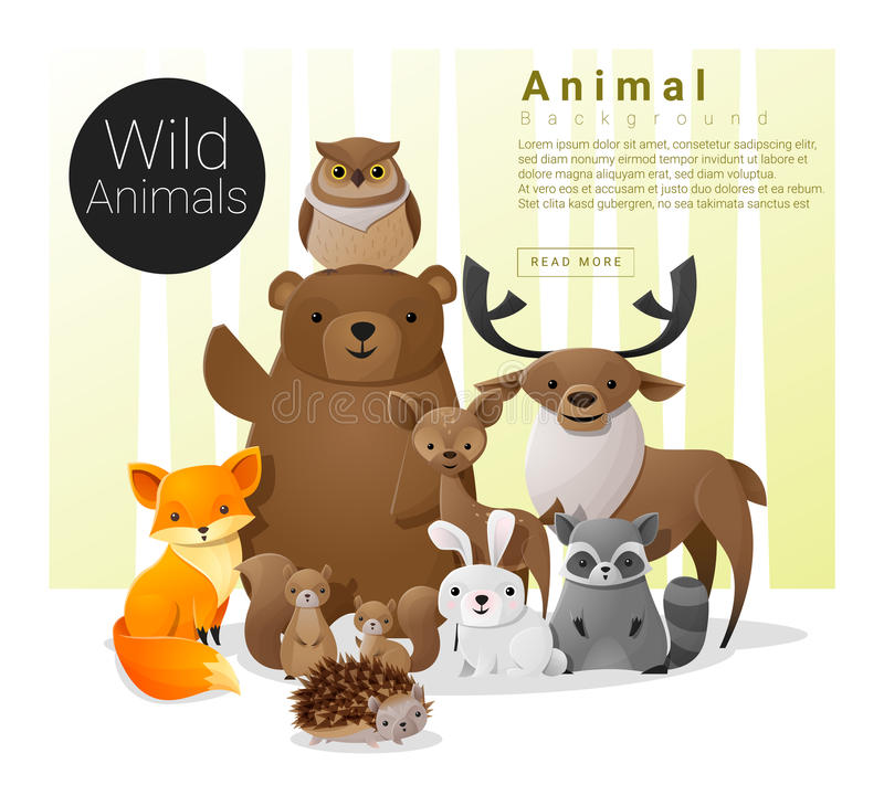 与野生动物的逗人喜爱的动物家庭背景 向量例证