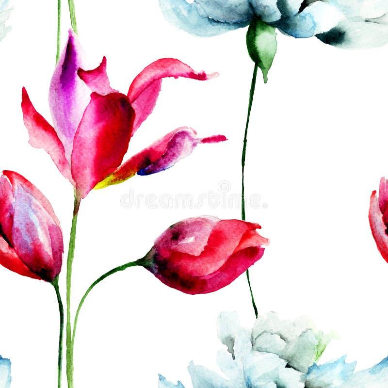 与野花的无缝的墙纸 向量例证