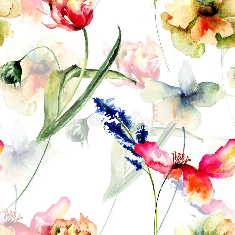 与野花的无缝的样式 库存例证