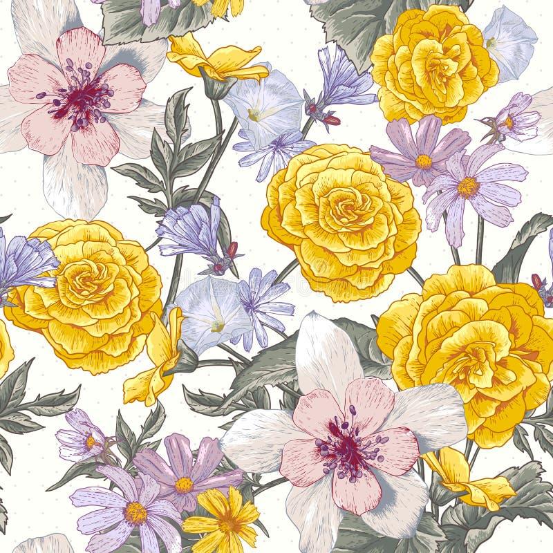 与野花的无缝的花卉植物的样式 库存例证