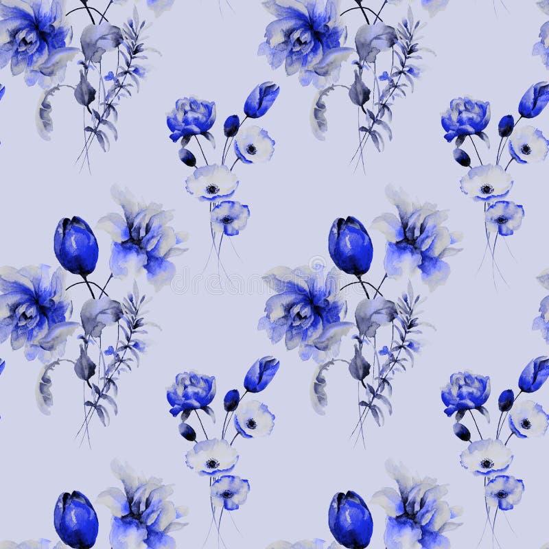 与野花的风格化无缝的背景 向量例证