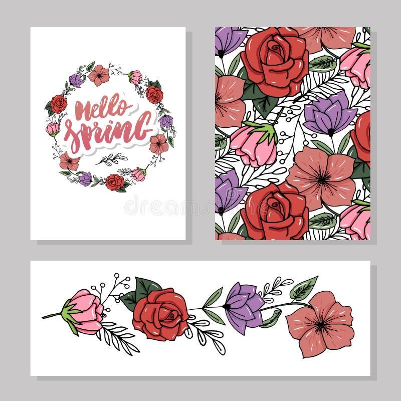 与野花,叶子的植物的卡片 春天装饰品概念 花卉海报,邀请 传染媒介布局装饰贺卡或 向量例证