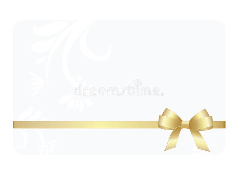 与金丝带和弓的礼品券 向量例证