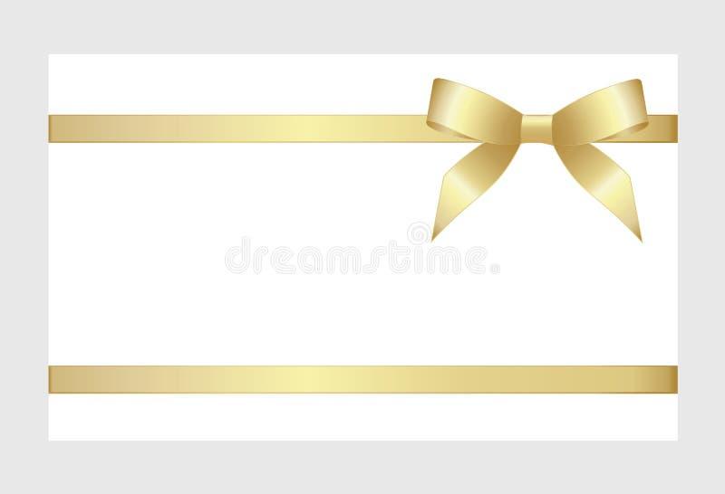 与金丝带和弓的礼品券 库存例证