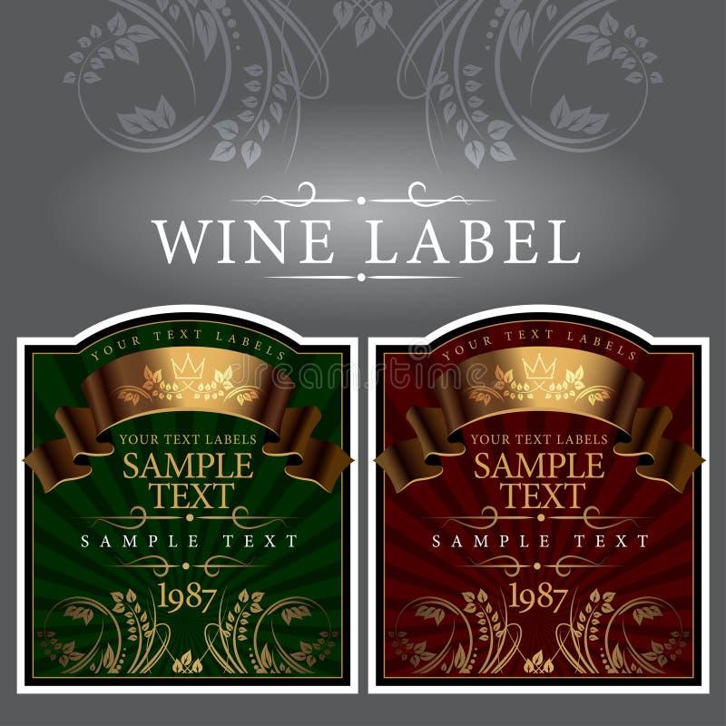 与金丝带的酒标签 向量例证