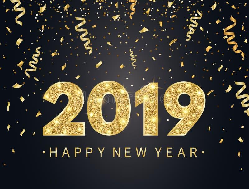 与金五彩纸屑、闪烁、闪闪发光和星的2019新年快乐背景 与明亮的节日快乐背景 向量例证