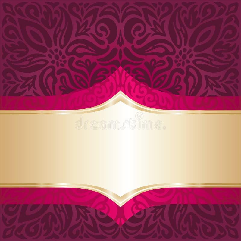 与金元素豪华葡萄酒邀请设计坛场墙纸的皇家红色花卉背景 皇族释放例证