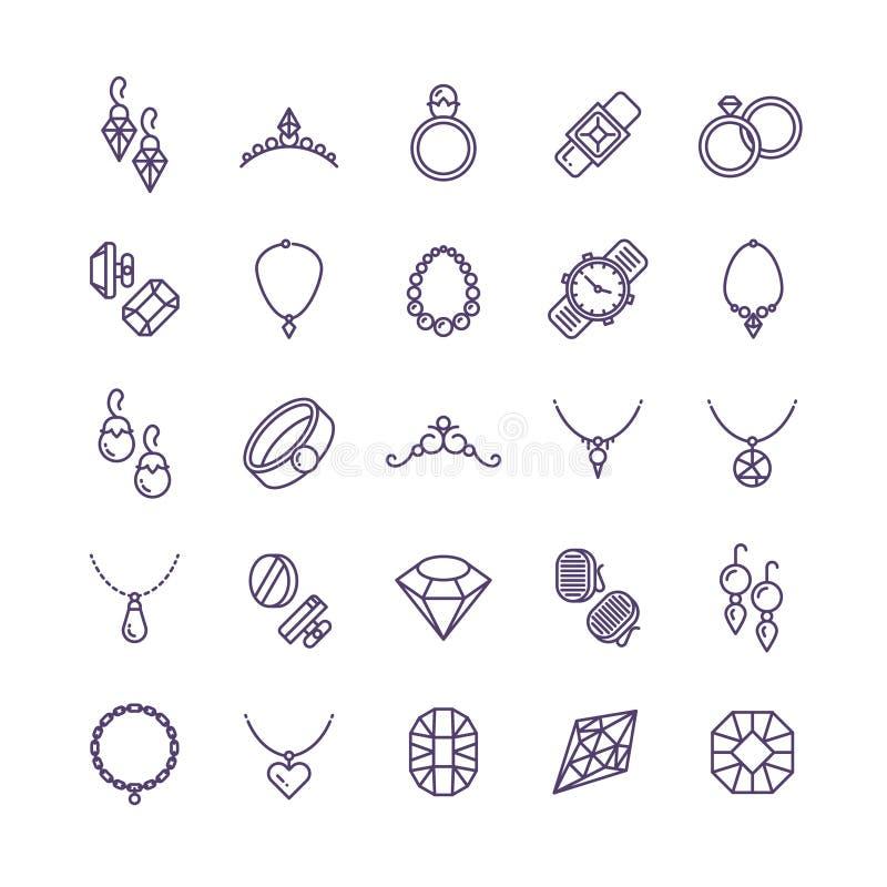与金刚石传染媒介线象和婚礼辅助部件标志的昂贵的金首饰 向量例证