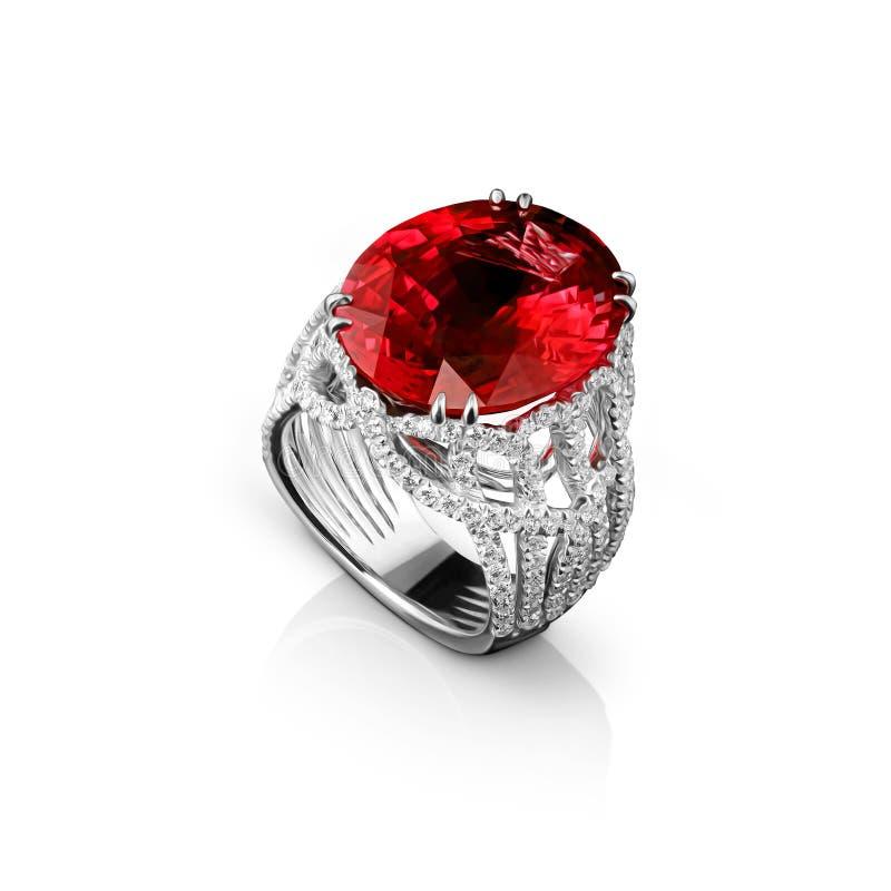与金刚石和巨大的红色红宝石的被隔绝的人造白金圆环 图库摄影