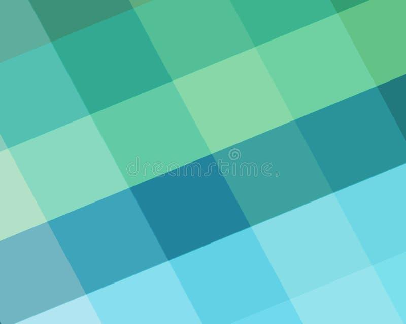 与金刚石块的抽象蓝色和绿色背景在有角度的样式和海滩颜色塑造 库存例证