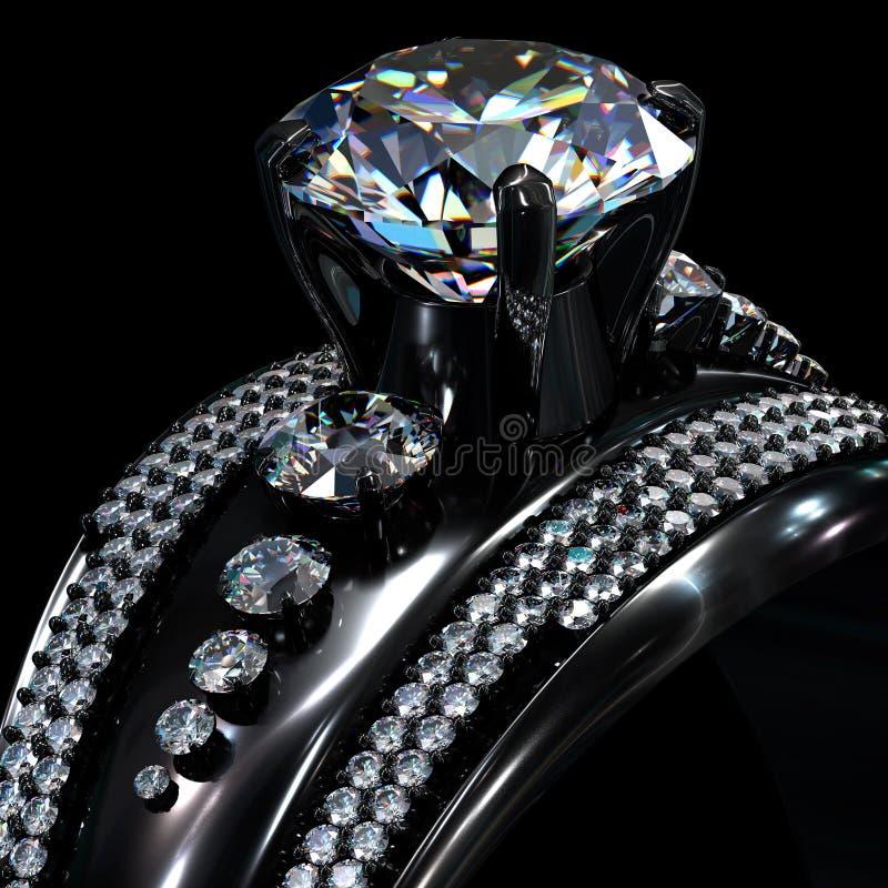 与金刚石宝石的黑金涂层定婚戒指 图库摄影