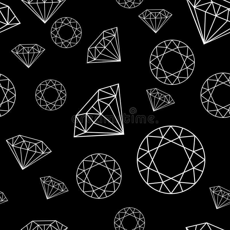 与金刚石概述的黑白无缝的样式 库存照片