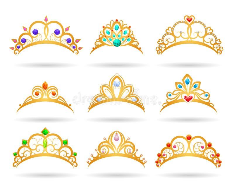 与金刚石的公主金黄冠状头饰 皇族释放例证