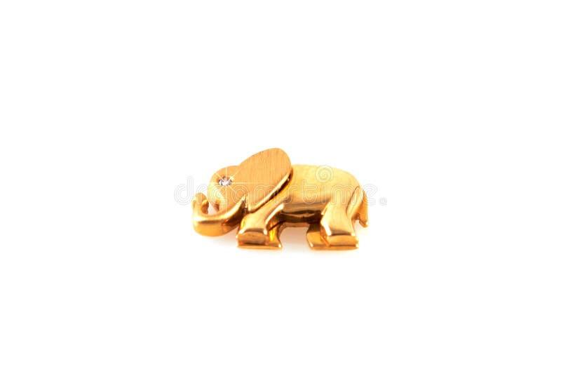 与金刚石的金黄大象 免版税库存照片