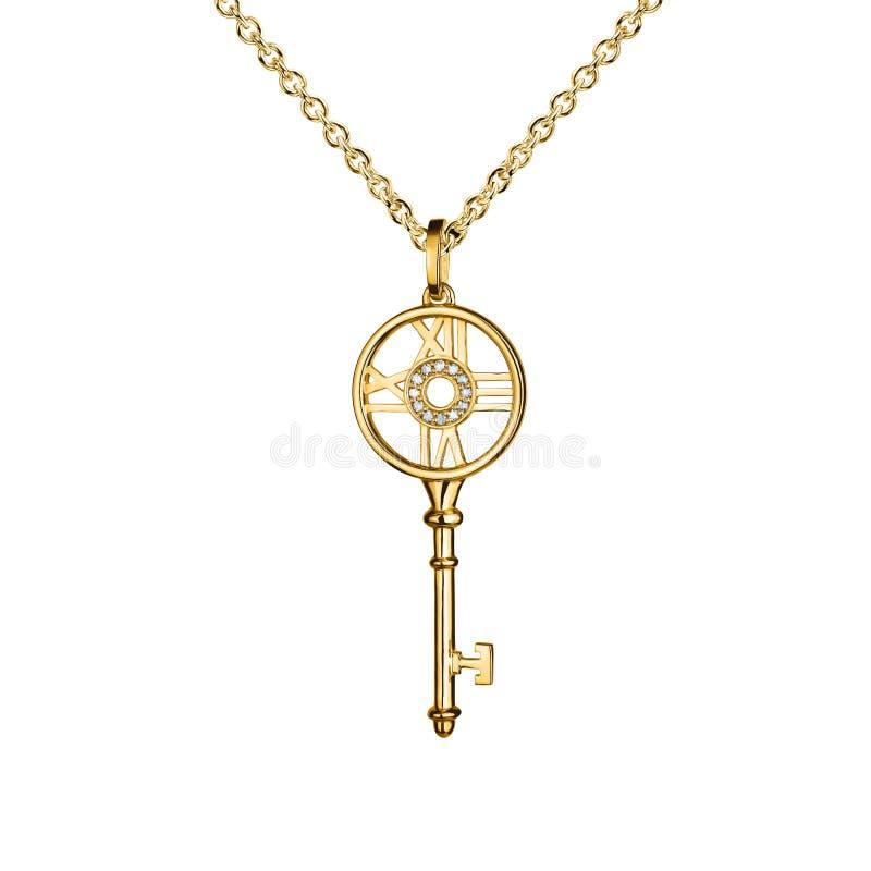 与金刚石的首饰金黄垂饰,与手表标记的钥匙,金黄链子,金银铜合金,隔绝在白色 库存照片
