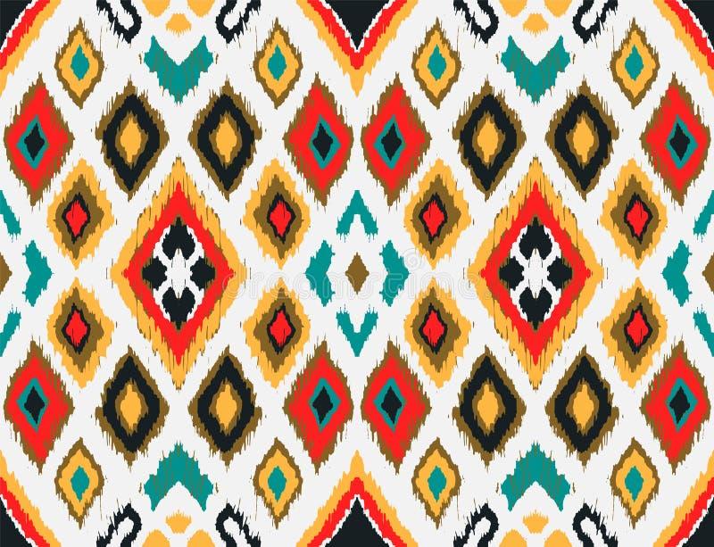 与金刚石的Ikat几何民间传说装饰品 部族种族传染媒介纹理 向量例证