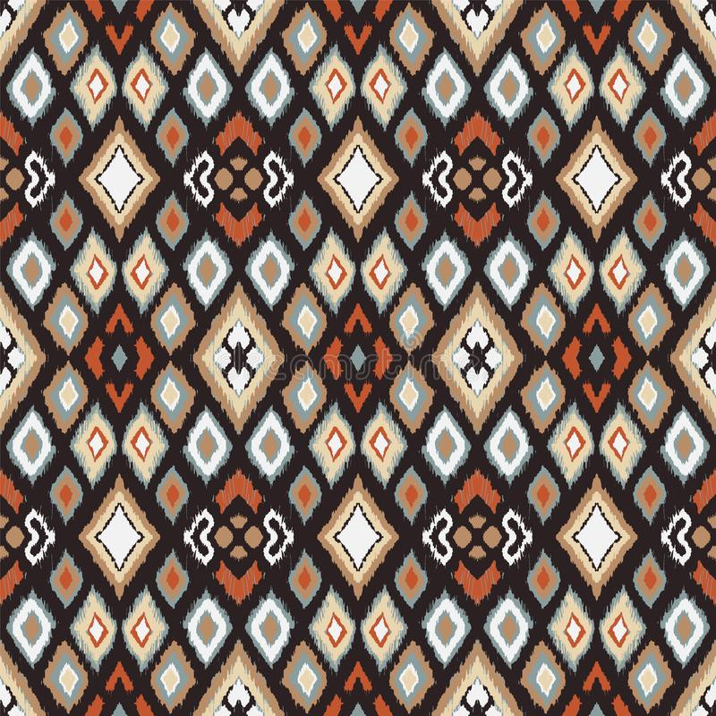 与金刚石的Ikat几何民间传说装饰品 部族种族传染媒介纹理 库存例证