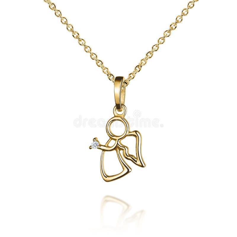 与金刚石,与翼的天使,金黄链子,金银铜合金的首饰金黄垂饰,隔绝在白色 库存图片
