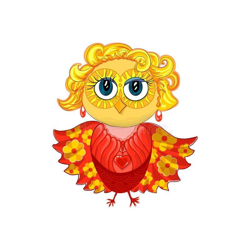 与金发、耳环、垂饰或者大奖章的逗人喜爱的女性猫头鹰,红色心脏和美丽做注视 向量例证