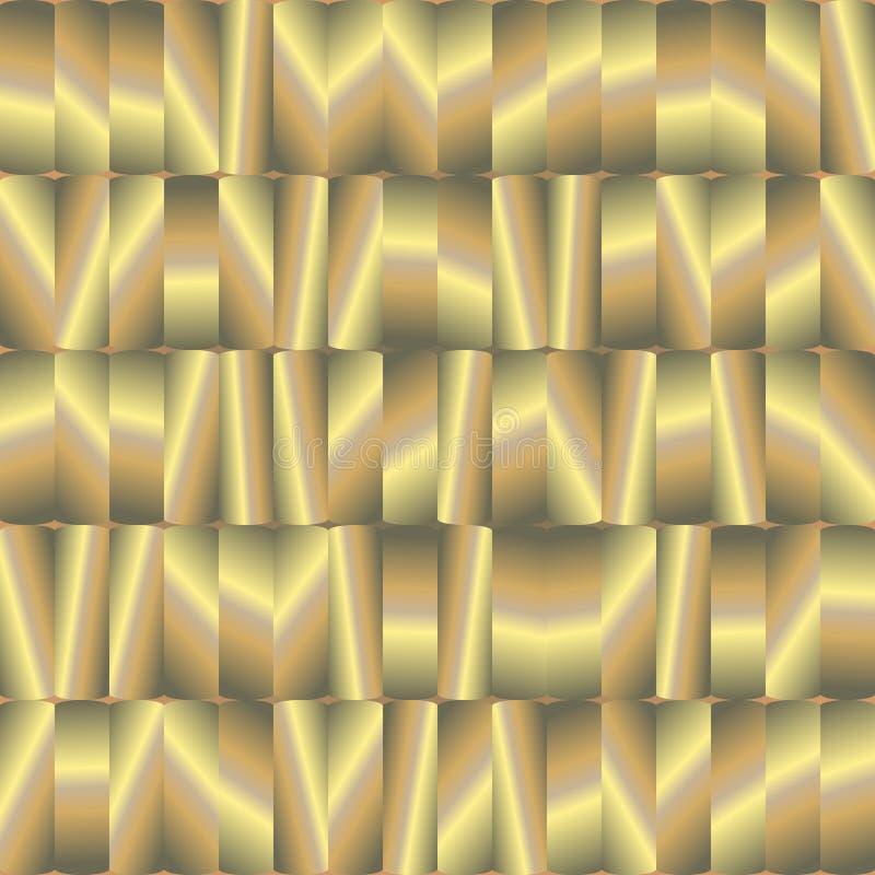与金器的抽象无缝的样式 向量例证
