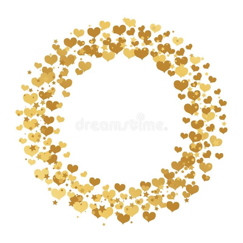 与金在白色背景和圈子的圆的框架隔绝的五彩纸屑心脏、星 库存例证