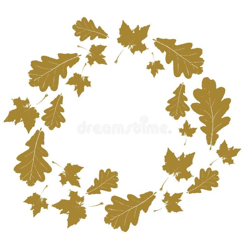 与金在白色隔绝的槭树和橡木叶子的花卉圆的秋天框架 皇族释放例证