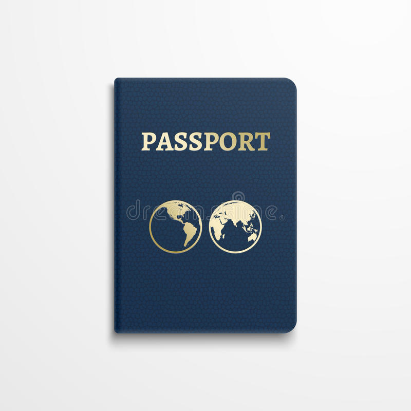 与金地球地球象征的护照在盖子 也corel凹道例证向量 库存例证