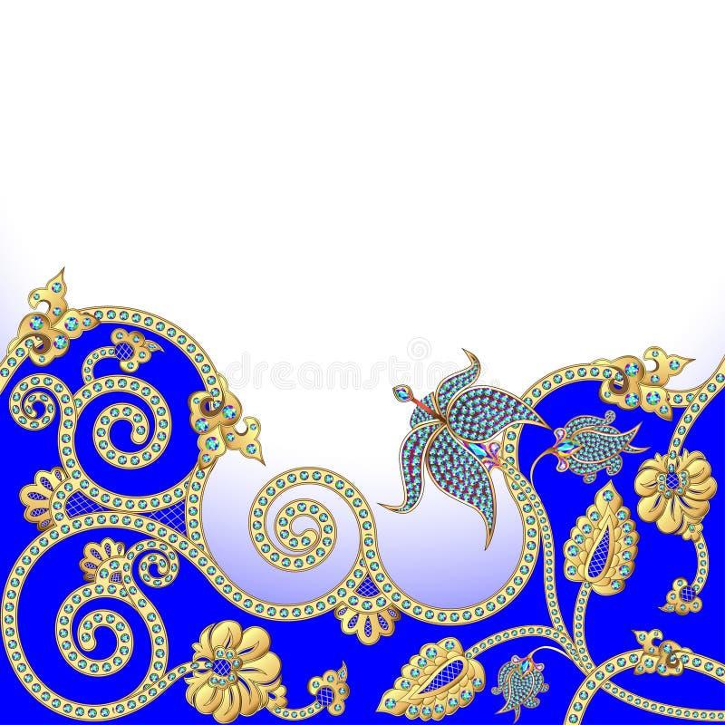与金子和宝石花的背景  向量例证