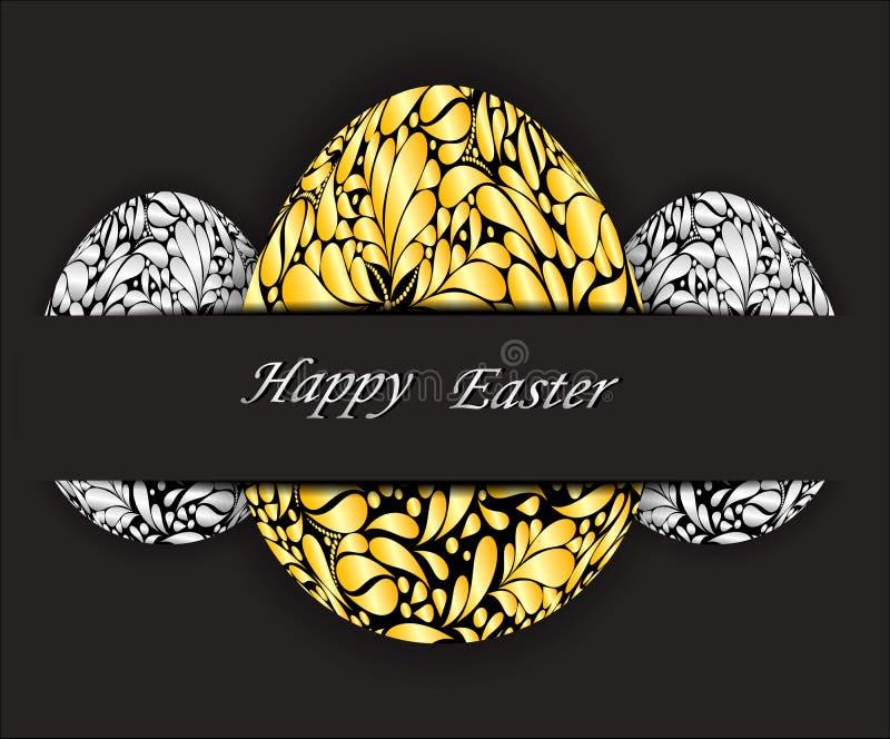 与金子和银色花卉样式的复活节彩蛋 向量例证