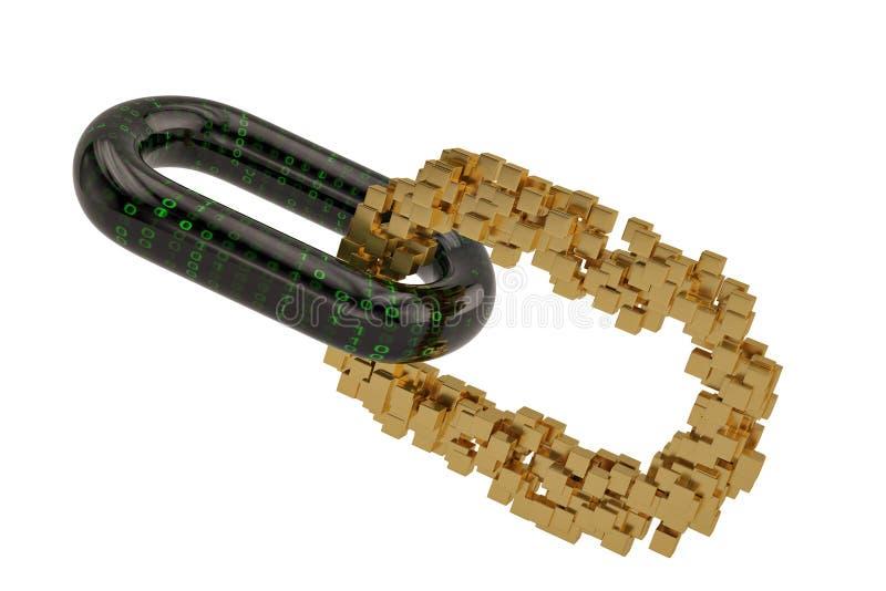 与金子的数字链子阻拦链接 3d例证 库存例证