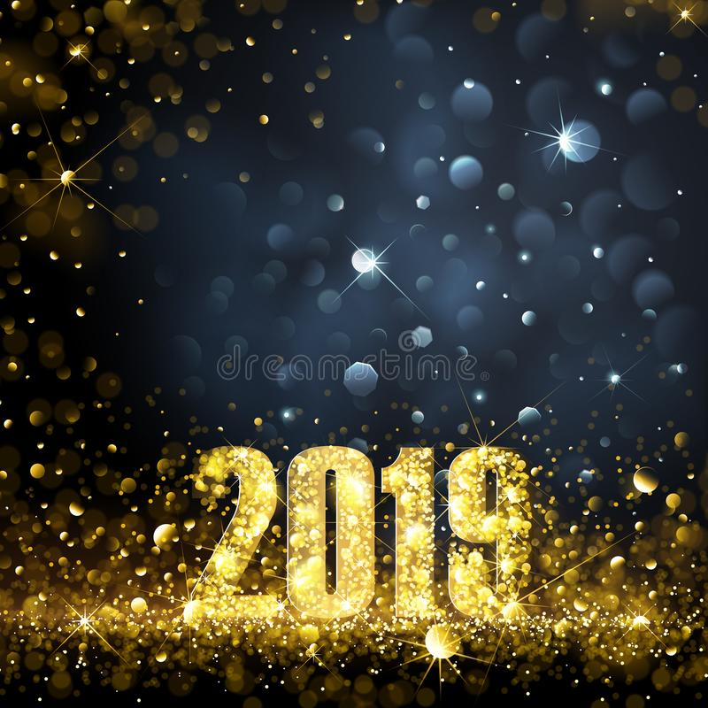 与金子的新年快乐横幅2019个数字 皇族释放例证