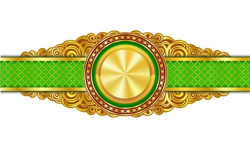 与金子的葡萄酒装饰横幅在中心镀了圈子 库存例证